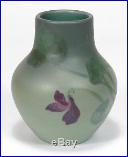 Rookwood Pottery Painted Matte vase ARV 1900 purple violets green Arts & Crafts