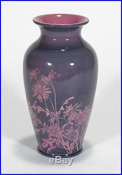 Rookwood Pottery Sally Coyne pink purple daisy porcelain vase arts & crafts 1924