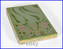 Rookwood Pottery faience pink lady slipper orchid tile matte green arts & crafts