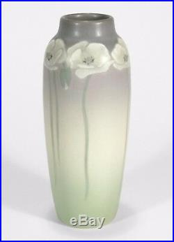 Rookwood Pottery matte floral vellum white poppies green 1910 LE arts & crafts