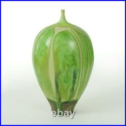 Rose Cabat studio pottery 7.25 feelie vase mid century modern ceramics green