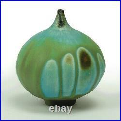 Rose Cabat studio pottery Feelie vase late mid century modern ceramics green
