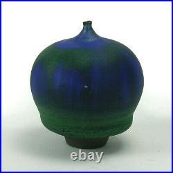 Rose Cabat studio pottery feelie vase mid century modern ceramics blue green
