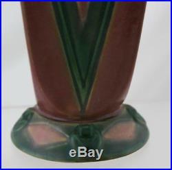 Roseville Futura Red Vee 7 Art Deco Victory Vase #399-7 Mint