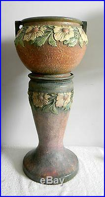 Roseville art potterry Dahlrose jardiniere and pedestal