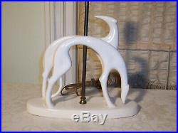 Royal Haeger Art Deco Ceramic Pottery Greyhound Dog Table Lamp