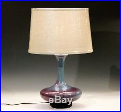 Royal Haeger Hickman Blue Purple Flambe Glaze Art Deco Pottery Vase Lamp Vintage