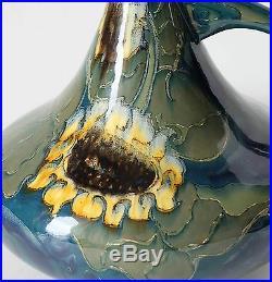 Rozenburg Den Haag Holland art nouveau vase with sunflowers