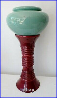 Scarce Art Deco California Pacific Pottery Oil Jar and Stand Jardiniere