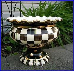 Scarce! New Mackenzie Childs Lg Courtly Check Pottery Ceramic Stoutly Vase B&w