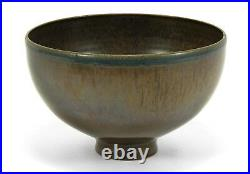 Scheier Pottery studio matte flambe brown bowl mid century modern ceramics'50s