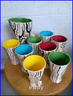 Service Orangeade Vintage Vallauris Céramique 50 60 Art Pottery Ceramic Signed