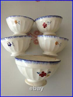 Set 5 Antique Vintage French Café au Lait Cereal Bowls DIGOIN Blue Red Flowers