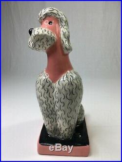 Set of 2 Vintage Hedi Schoop Ceramic Pink Poodles Large Art Figurines RARE (BH3)