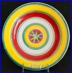 Set of 8 DESIMONE Hand Painted Folk Art Pottery10 Plates Yellow Red Green Bands