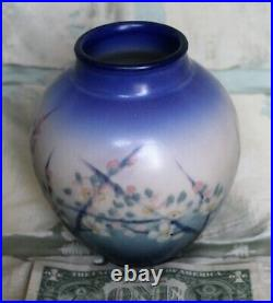 Signed Rookwood Vellum Vase with Hand Painted Floral Designs by E T Hurley -1930
