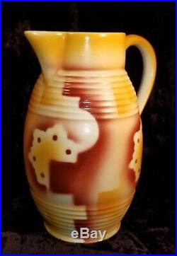 Spritzdekor Pitcher Jug Bauhaus Art Deco Ceramic German Czech Antique Vtg