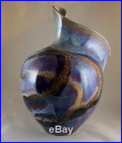 Studio Art Pottery Ceramic Glazed Vase Signed DUDLEY SMITH PREIS Hawaii. 10T 8W