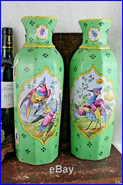 Stunning PAIR European Art Ceramic green bird Vases insects floral 1930