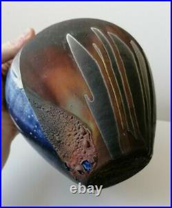 Stunning Raku Metallic Matt Studio Pottery Signed Ceramic Vase Pot