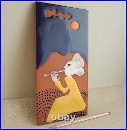 Susana Espinosa Ceramic Art Tile Plaque 1974 Flute Player MCM Puerto Rico Modern