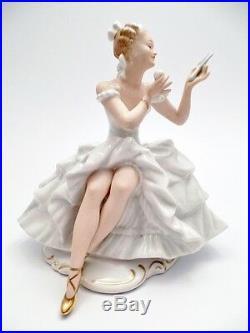TOP tall SIGNED art deco WALLENDORF figurine MIRROR schaubach SIGNED ceramic