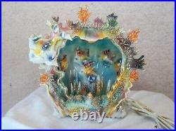 TV Lamp Sea Fish Shell Tank Aquarium Italian Art Pottery Italy Ceramic