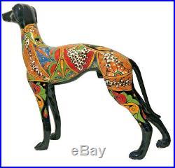 Talavera Italian Greyhound Dog Ceramic Statue Whippet Mexican Folk Art 23 XL