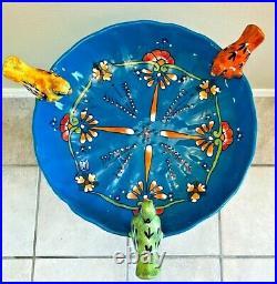 Talavera Mexican Art Bird Bath Pottery Birdbath Large 23 Pedestal Ceramic