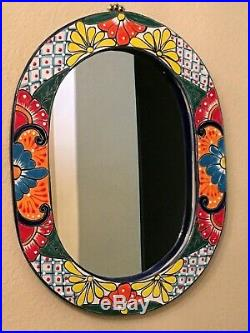 Talavera Mexican Folk Art Mirror Ceramic Pottery Wall Art XL 20
