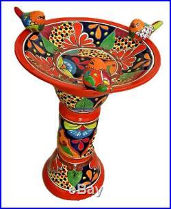 Talavera Mexican Pottery Large 19 Bird Bath Bird Ceramic Birdbath Folk Art