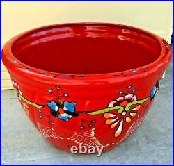 Talavera Planter Mexican Ceramic Pottery Red Flower Pot X Large 18 Folk Art