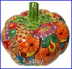 Talavera Pumpkin Mexican Pottery XXL 22 Life Size Art Ceramic Gourd
