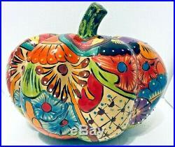Talavera Pumpkin Mexican Pottery XXL Life Size Art Ceramic Gourd