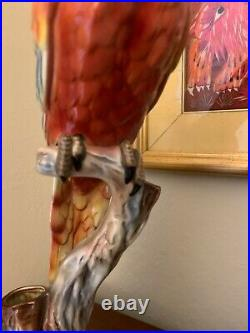 Tall Colorful Handpainted Ceramic Parrot By Will George California Pottery