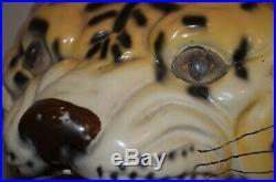 Tiger Head Art Deco Pottery Majolica Style Ceramic Vase Planter MCM VTG 50s 60s
