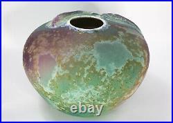 Tony Evans Raku Large Ceramic Studio Art Pottery Koi Fish Vase #146 Rare