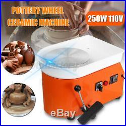 US 25CM 110V Electric Pottery Wheel Machine Ceramic Work Clay Art Craft ABS 250W