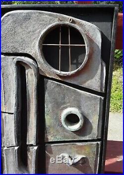 VERY Rare pair vintage 1960s 1970s brutalist style ceramic pottery sculpture