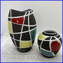 VINTAGE 60s Schlossberg Keramik Vase x2 Kuba by Liesel Spornhauer Mid-Century