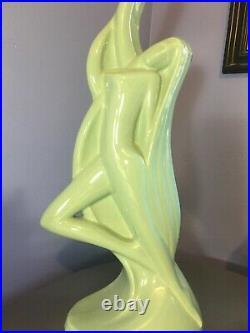 VTG 24 Green HAEGER Nude LADY Art Deco STATUE Ceramic Pottery FIGURINE Woman