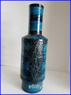 VTG Mid Century Modern Aldo Londi BITOSSI LG RIMINI BLUE Italy Pottery VASE 17