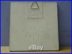 VTG Signed BY GOFER Israel Ceramic Art Deco Hand Made Wall Plaque Tile Libra