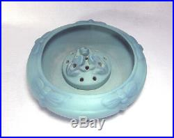Van Briggle Art Pottery 12 Dragonfly Bowl Shape 903E with 3-Frogs Flower Frog