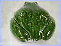 Van Briggle Art Pottery RARE Huge Garden Frog Toad Figure Glossy Green Glazes