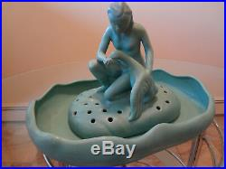 Van Briggle Leda & Swan, Art Pottery, Flower Frog, Nude Figural With Bowl, Nice