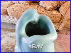 Van Briggle Lorelei Vase in Ming Blue, Art Nouveau Aqua Art Pottery, USA Ceramic