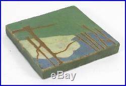 Van Briggle Pottery 6 landscape tile Arts & Crafts matte green blue white cloud