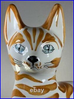 Vintage 15 Tall 1960's Mid Century Modern Italian Ceramic Cat Figurine