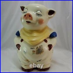 Vintage 1940's Smiley Pig Cookie Jar Yellow Scarf Shawnee Made in USA